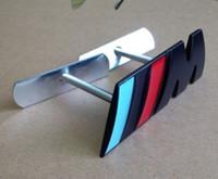 tampas de transformador venda por atacado-EMBLEMA do logotipo do emblema M da grade M do carro do poder do metal M do cromo para BMW X1 M3 X5 E46, preto