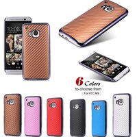 Wholesale Metal Shock Cases - M9 Top Quality Shock Proof Case For HTC One M9 Luxury Grid Carbon Fiber+PC Capa Slim Mobile Phone Cover Shell Bag Drop Shipping