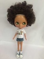 Wholesale Nude Toys - Wholesale-Free shipping cost Nude Blyth Doll ,curly hair Factory doll, black skin suitable For DIY Change BJD Toy For Girls
