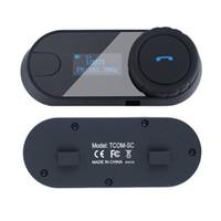 Wholesale Intercom W Screen - TCOM-SC W Screen BT Bluetooth Motorcycle Helmet Intercom Headset with FM Radio+Free Earpiece+Bracket 2PCS SET Free Shipping