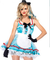 Wholesale Hot Sexy Women Cosplay - w1023 Women Hot Sexy Fluffy Sky Blue French Maid Princess Cosplay Fancy Dress Outfits Exotic Apparel Sexy Costumes Halloween