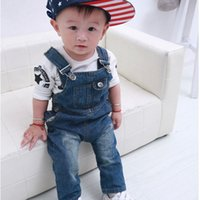 Wholesale Baby Boy Infant Jeans - 2015 new fashion children boys girls Denim overalls baby pants child jeans kid strap trousers retail autumn infant baby 1-2-3-4-5 years old