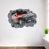 Wholesale Car Design Wall For Kids - Car Punched Through Wall Creative Decal Stickers Removable Kids Nursery Decor Art Car 70 X 100CM Home Decor