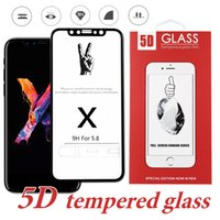 Wholesale Durable Screen Protector - 5D Tempered Glass For iPhone X Durable 9H Hardness Screen Protector Full Coverage Whole Film For iPhone 8 Plus with Retail Package