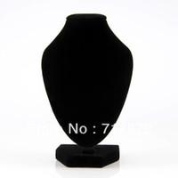 enlaces de soporte al por mayor-5 Unids / lote Envío Gratis Colgante de Collar de Terciopelo Negro Colgante de Cadena de La Joyería Soporte Del Sostenedor de Exhibición Del Cuello