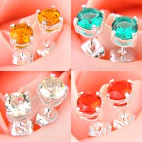 Wholesale Wholesalers Chandeliers Usa - 10 Pairs   Lot Classic Gift For Mother Jewelry Round Colored Fire Quartz Citrine Gems 925 Sterling Silver Plated USA Stud Wedding Earrings