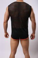 Wholesale Transparent Mens Wear - Wholesale-Free Shipping High Quality New Mens Sport Undershirt Men Vest Men Transparent Sleep Wear Fashion Mesh Undershirts Underwear