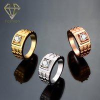 Wholesale cutting tin - Mens Promise Rings Top Quality 18K Rose White Gold Plated Rings Plaid Surface Lattice Cutting Gold Plated with Crystal Jewelry