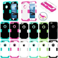 """Wholesale Silicone Rubber Iphone Robot - Colorful Heavy Duty Hybrid Robot For IPhone 6 6s Plus 5.5"""" Silicone Rubber PC Hybrid Shockproof 3 IN 1 Shell Case"""