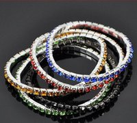 Wholesale Korean Women Beaded Bracelets - New Korean Designs Hot Fashion Women Silver Plated Bangles One Row Shining Crystal Stretch Bracelets Mix Colors