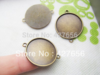 Wholesale Two Loop Charms Wholesale - 500pcs 10pcs Antique Silver tone Bronze Copper Base Setting Bezel Tray Bezel Pendant Charm Finding,fit 18mm Cabochon Cameo,Two Loops