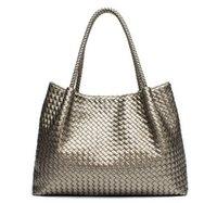 Wholesale European Knitting Bag - 2016 Sac Femme Luxury Handbags Women Bags Designer Genuine Leather Bag Fashion Hand-Made Woven Shoulder Bags Sacs a Main Marque Celebre