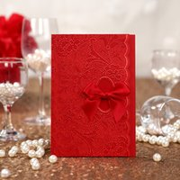 Wholesale Embossed Red Wedding Invitation - Chinese Wedding Invitations Cards Red Vintage Style Embossed Wedding Invitation With Envelope and Seal Free Printing