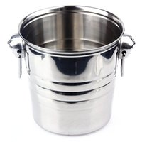 Wholesale Stainless Steel Wine Container - 2016 Top Grade Stainless Steel Cubes Barrel Ice Container Barrel Bucket Beer Wine Cooler Champagne 18x19cm Bar Home Using