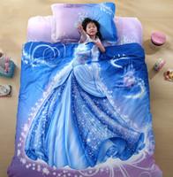 Wholesale Wholesale Comforters Sets - Wholesale-Promotions Organic Cotton Cool Designer 3D Bed Linen Cinderella Kids Bedding Set 3D Comforter Set Girls Anime Bed Sheets Cute B