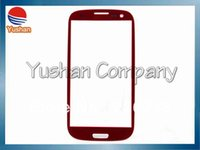 Wholesale Replacement Glass Galaxy S3 Red - Wholesale-For Samsung Galaxy S3 Siii I9300 i535 L710 i747 T999 Front Glass Replacement Black White Red Pink+Screen Protector Free Shipping