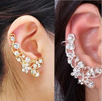 Wholesale Earring Clamps - Retro Crystal Butterfly Flower Ear Cuff Stud Earring Wrap Clip On Clip Clamp New