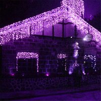 Wholesale netting for garden - Christmas Lights Droop 0.4-0.6m Length 4M Curtain Icicle String Led Lights AC110V 220V For Outdoor New Year Garden Xmas Wedding