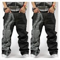 Wholesale Men Long Baggy Pants - American brand discount loose pants baggy jeans for men jeans men hiphop rapper style plus size men jeans free shipping