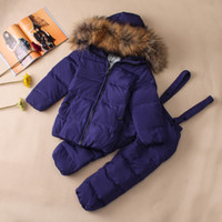 Wholesale Snow Suits For Kids - Kids Ski Suits Snow Suits For Girls Children Boys Snowsuit Down Cotton Jacket +Winter Overalls Child Winter Thicken Clothing