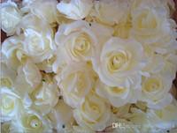 seide künstliche weihnachtsblumen großhandel-Hot 100 stücke Durchmesser Seide Künstliche Blume Pfingstrose Kamelie Gefälschte Rose Blütenköpfe für Hochzeit Weihnachtsfeier Dekorative blume