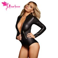 Дорогой любовник Sexy Ladies Black Leathery с длинным рукавом Zip Detail Bodysuit Teddies Lingerie Nightwear erotic Chemise Underwear LC3259 q1113
