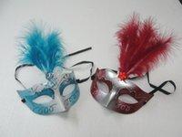 maskeli parti dekorasyonları satılık toptan satış-Sıcak satış Güzel tüy Rhinestone maske venedik masquerade parti hediye noel dekorasyon düğün favor yenilik 10 adet / grup