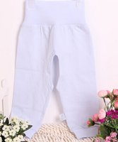 Wholesale Newborn Long Johns - Wholesale-2015 All Season Newborn Lycra Cotton Trousers High Waist Open-crotch Protection Belly Pants Long Johns Legging Free Shipping