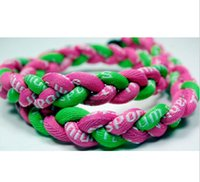 "Wholesale Twisted Baseball Necklaces - 2015 best quality 3 Rope Healthy Necklaces Titanium braid Twist Tornado baseball football unversity 18"" 20"" 22"""