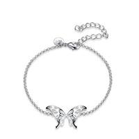 ingrosso argento dolce placcato-Moda argento placcato bowknot farfalla braccialetti di fascino per le donne gioielli braccialetto argenteo regalo di partito dolce gioielli eleganti nuovo stile caldo