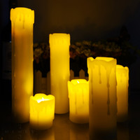 Wholesale Flameless Votive Candle - 6pcs Flickering Flameless Remote Control Led Candle Scented Bougie Velas Votive Candles Electric Home Wedding Decoration Ivory