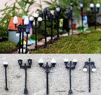 ingrosso luci da giardino in miniatura-11pcs Street Light Decoration Resin Craft Dollhouse Fairy Garden Miniature Jardin Bonsai Terrarium Ornament Gnomi succulenti