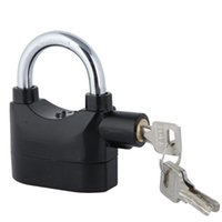 Wholesale Alarms Security Padlock - Padlock Alarm Anti-Theft Anti-lost Home Security Door Motor Bike Bicycle Padlock 120dB with 3 Keys black in retail box