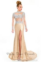 Wholesale Dresses Ruching - 2016 Light Gold Pageant Gowns Sheer Prom Dresses Backless Long Sleeve High Neck Crystal Beaded Ruching Mermaid Evening Gowns Party Time