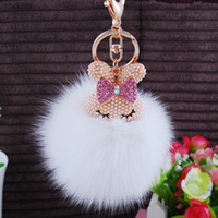 Wholesale Accessories Whosale - Whosale European Style Hot Sale Fashion Accessories Fox Hair Fur Ball Key Rings Rabbit Head Cute Design Diamond Bag Pendants
