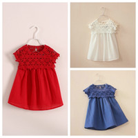 Wholesale crochet animals free online - embroidery floral lace crochet dress girls floral hollow out lace dress floral crochet lace short sleeve dress girl in stock