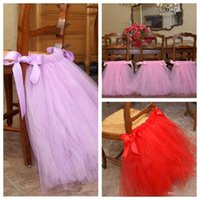 Wholesale Wholesale Shower Chairs - Custom Red Pink Tutu Chair Skirts Covers Wraps Sashes Decorations For Country Weddings Birthdays Baby Bridal Showers Free Shipping