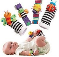 Wholesale Baby Feet Month - 2015 New arrival sozzy Wrist rattle & foot finder Baby toys Baby Rattle Socks Lamaze Plush Wrist Rattle+Foot baby Socks 1000pcs
