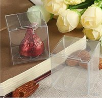 Wholesale Clear Candy Container Wholesaler - AAA Quality 3x3x3 CM Clear PVC Package Box Square Plastic Containers Gift Box Candy Towel Cake Box 100Pcs lot free shipping