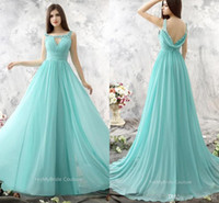 Wholesale Cheap Aqua Bridesmaid Dresses - Aqua Blue Long Chiffon Bridesmaids Dresses 2017 A Line Scoop Keyhole Front Sheer Lace Appliques Beaded Low Back Maid of Honor Dresses Cheap