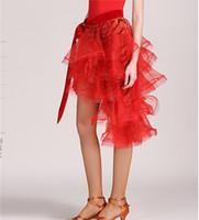Wholesale red salsa skirt - New Adult Latin Dance Dress Salsa Tango Cha cha Ballroom Competition practice Dance Dress Sexy Irregular Skirt 2Color YL018