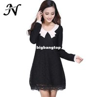 1511 Neu 2015 Herbst-Winter Kleid Women Korean Style Fashion Langarm Bubikragen mit Futter Nette Plus Size Spitzenkleid 1097