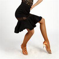 Wholesale Latin Dance Competition Dress Black - Adult New Latin Dance Dress salsa tango Cha cha Ballroom Competition Printed Group Dance Skirt 3Color S-XL G017