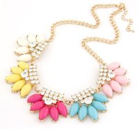 Wholesale Exaggerated Jewellery - Exaggerate Fashion Collar Chokers Waterdrop Acrylic Statement Necklace With Crystal Rhinestone Women Wedding Jewellery S98148