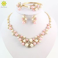 Wholesale Pearl Colorful Set - Gold Plated Colorful Pearl Classic Jewelry Set Alloy Vintage African Beads Jewelry Sets For Women Imitation Wedding Accessories
