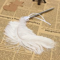 Wholesale Diamante Pen - New Fashion Wedding Bridal Ostrich Feather Quill Guest Book Signing Pen Diamante Bowknot BeautifulDesign order<$18no track