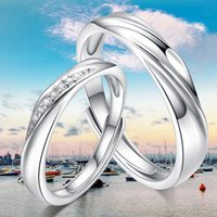 Wholesale Silver Ring Couple Intertwined - Factory wholesale S925 Sterling Silver fashion hot sale lovers intertwined love jewelry opening couple ring for wedding