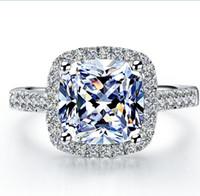 melhores modelos de anéis para mulheres venda por atacado-2 ct surpreendente design branco claro Princesa Corte anel de diamante Sintético incrível item popular mulheres melhor amor jóias com caixa