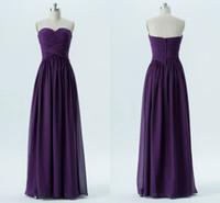 robe demoiselle d'honneur plissée violet achat en gros de-Robe de demoiselle d'honneur longue en chiffon plissé avec cœur