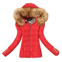 Wholesale Down Women Ae - Wholesale-Winter Jacket Women 2015 New Fashion Down Cotton Parkas Fur Collar Hooded Coat Outwear 4 Colors Plus Size 4XL AE-ME-243